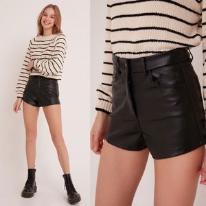 UO BDG Faux Leather High Rise Shorts